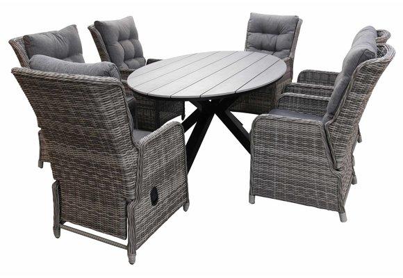 7-delige tuinset | 6 Dublin verstelbare stoelen (AG) | 220cm ovale Cyprus tuintafel (Grey)