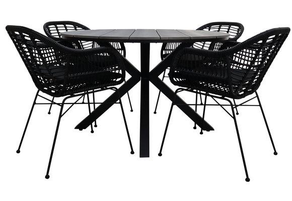 5-delige ronde tuinset   4 Oslo dining tuinstoelen (Black)   ⌀ 120cm Cyprus tuintafel (Grey)