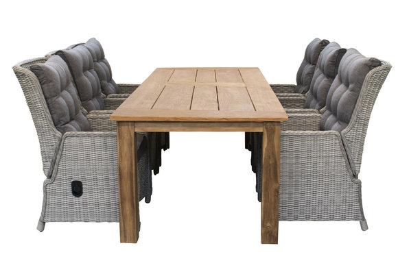 7-delige tuinset | 6 Dublin verstelbare stoelen (MG) | 240cm Ayra tuintafel (Teak)