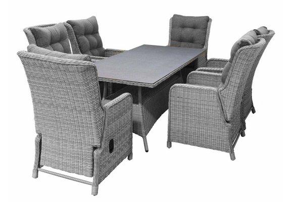 7-delige tuinset | 6 Dublin verstelbare stoelen (MG) | 180cm tafel (Keramiek)