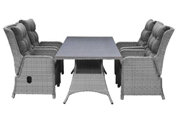 5-delige tuinset | 4 Dublin verstelbare stoelen (MG) | 160cm tafel (Keramiek)