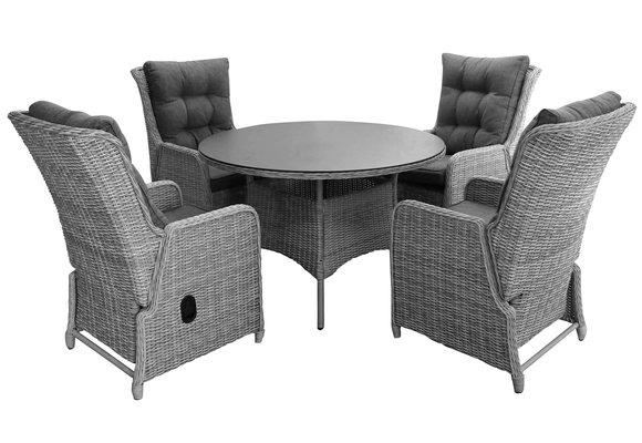 5-delige ronde tuinset   4 Dublin verstelbare stoelen   ⌀120cm tuintafel (MG)