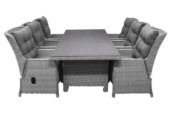 7-delige tuinset | 6 Dublin verstelbare stoelen (MG) | 230cm tuintafel (Keramiek)