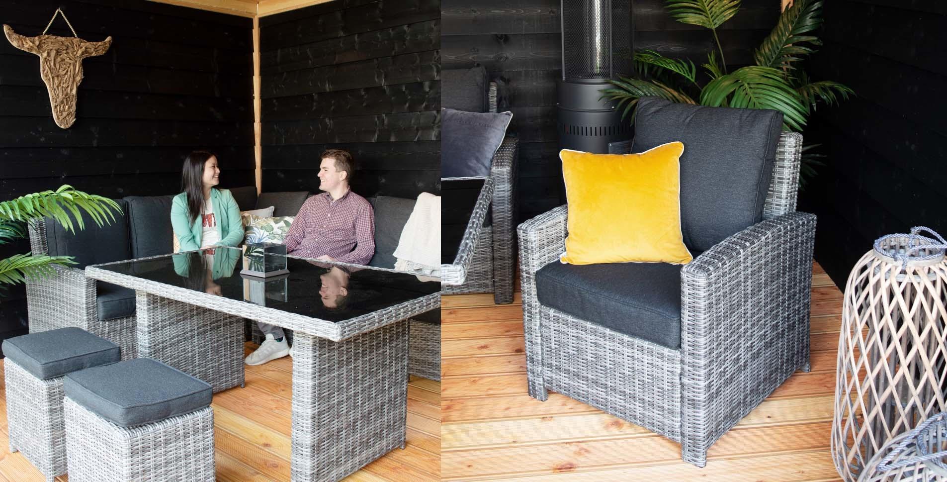 Industriële overkapping met loungeset