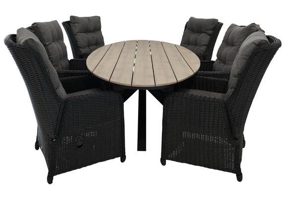 7-delige tuinset | 6 Dublin verstelbare stoelen (BL) | 220cm ovale Cyprus tuintafel (Wood)