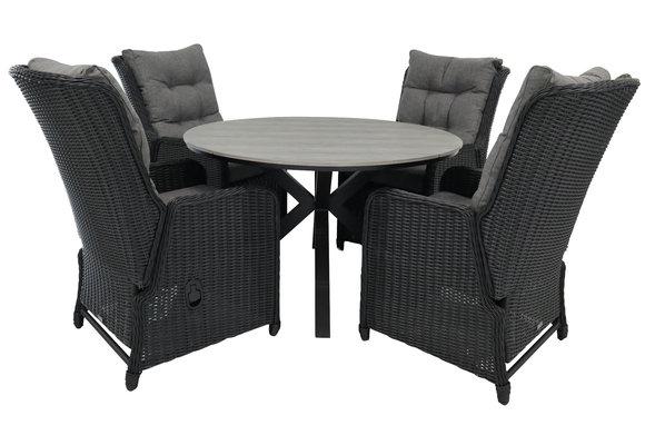 5-delige ronde tuinset | 4 Dublin verstelbare stoelen (BL) | ⌀120cm Cyprus tuintafel (Grey)