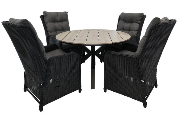 5-delige ronde tuinset | 4 Dublin verstelbare stoelen (BL) | ⌀120cm Cyprus tuintafel (Wood)