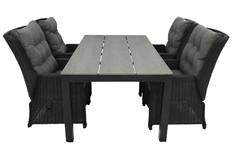 5-delige tuinset | 4 Dublin verstelbare stoelen (BL) | 160 of 180cm Cyprus tuintafel