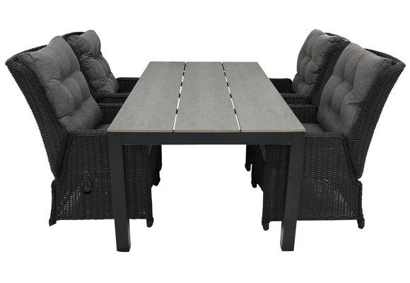 5-delige tuinset | 4 Dublin verstelbare stoelen (BL) | 160 of 180cm Cyprus tuintafel (Grey)