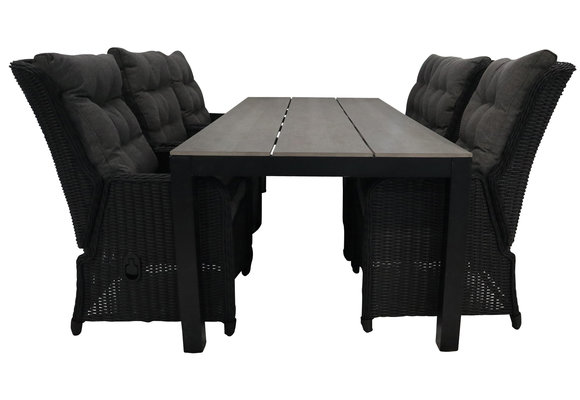 7-delige tuinset   6 Dublin verstelbare stoelen (BL)   225cm Cyprus tuintafel (Grey)