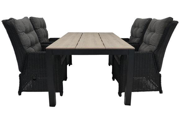 5-delige tuinset | 4 Dublin verstelbare stoelen (BL) | 160 of 180cm Cyprus tuintafel (Wood)