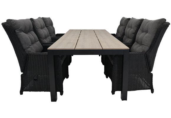 7-delige tuinset | 6 Dublin verstelbare stoelen (BL) | 225cm Cyprus tuintafel (Wood)