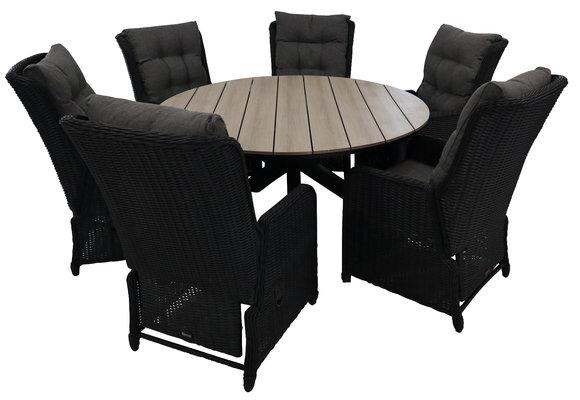 7-delige ronde tuinset | 6 Dublin verstelbare stoelen (BL) | ⌀150cm Cyprus tuintafel (Wood)