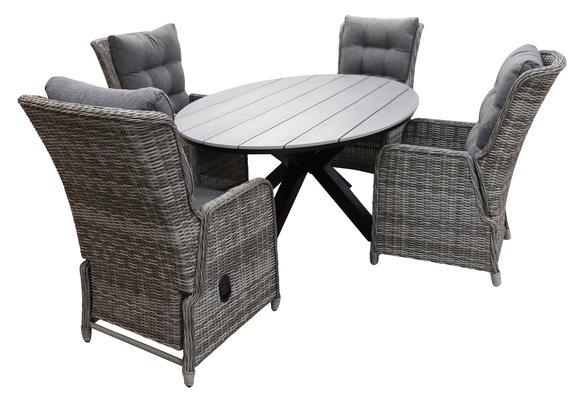 5-delige tuinset | 4 Dublin verstelbare stoelen (AG) | 180cm ovale Cyprus tuintafel (Grey)
