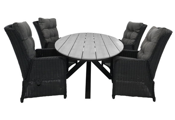 5-delige tuinset   4 Dublin verstelbare stoelen (BL)   180cm ovale Cyprus tuintafel (Grey)