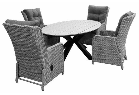5-delige tuinset | 4 Dublin verstelbare stoelen (MG) | 180cm ovale Cyprus tuintafel (Grey)