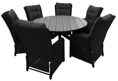 7-delige ronde tuinset | 6 Dublin verstelbare stoelen | ⌀150cm Cyprus tuintafel