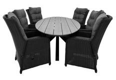 7-delige tuinset | 6 Dublin verstelbare stoelen | 220cm ovale Cyprus tuintafel