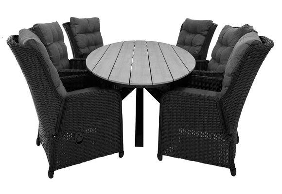 7-delige tuinset | 6 Dublin verstelbare stoelen (BL) | 220cm ovale Cyprus tuintafel (Grey)