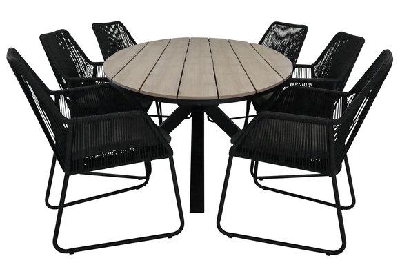 7-delige tuinset | 6 Mona tuinstoelen (Black) | 220cm ovale Cyprus tuintafel (Wood)