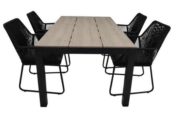 5-delige tuinset | 4 Mona tuinstoelen (Black) | 180cm Cyprus tuintafel (Wood)