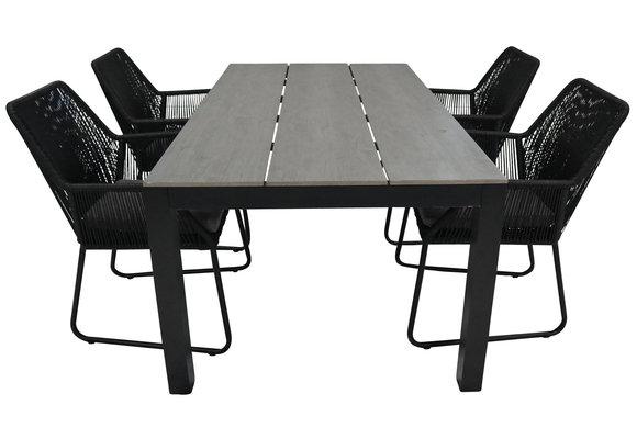 5-delige tuinset | 4 Mona tuinstoelen (Black) | 180cm Cyprus tuintafel (Grey)