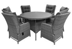 7-delige ronde tuinset | 6 Dublin verstelbare stoelen | ⌀150cm tuintafel