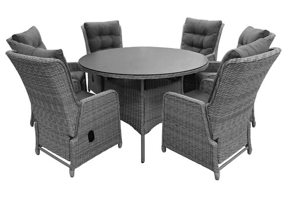 7-delige ronde tuinset | 6 Dublin verstelbare stoelen | ⌀150cm tuintafel (MG)