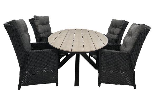 5-delige tuinset   4 Dublin verstelbare stoelen (BL)   180cm ovale Cyprus tuintafel (Wood)
