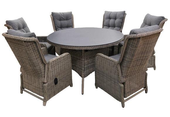 7-delige ronde tuinset | 6 Dublin verstelbare stoelen (SW) | ⌀150cm tuintafel (Keramiek)