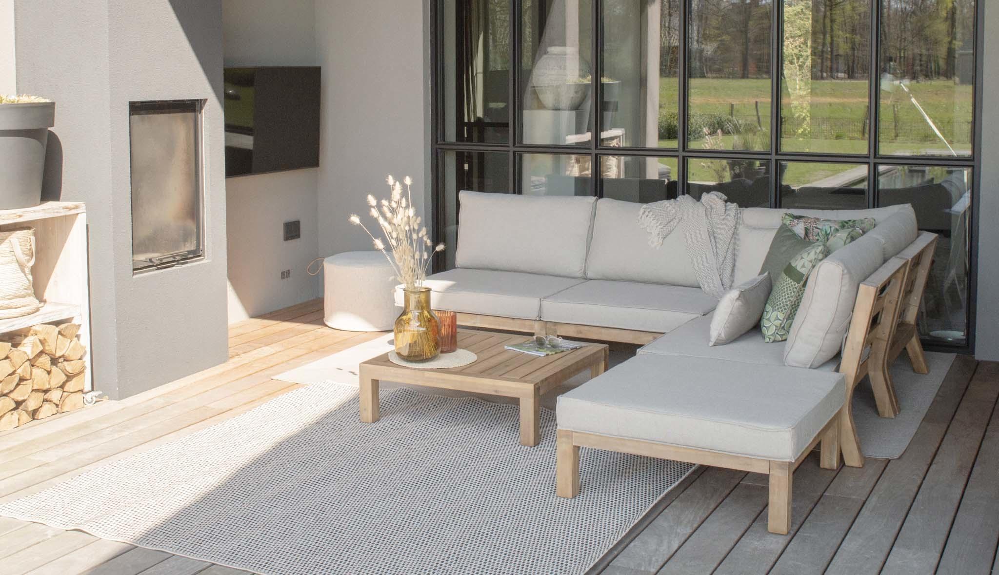 Lage loungeset hout Kent