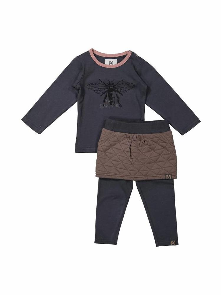 Girls 3-piece set with leggings, skirt and longsleeve | Koko Noko | 37Z-29908