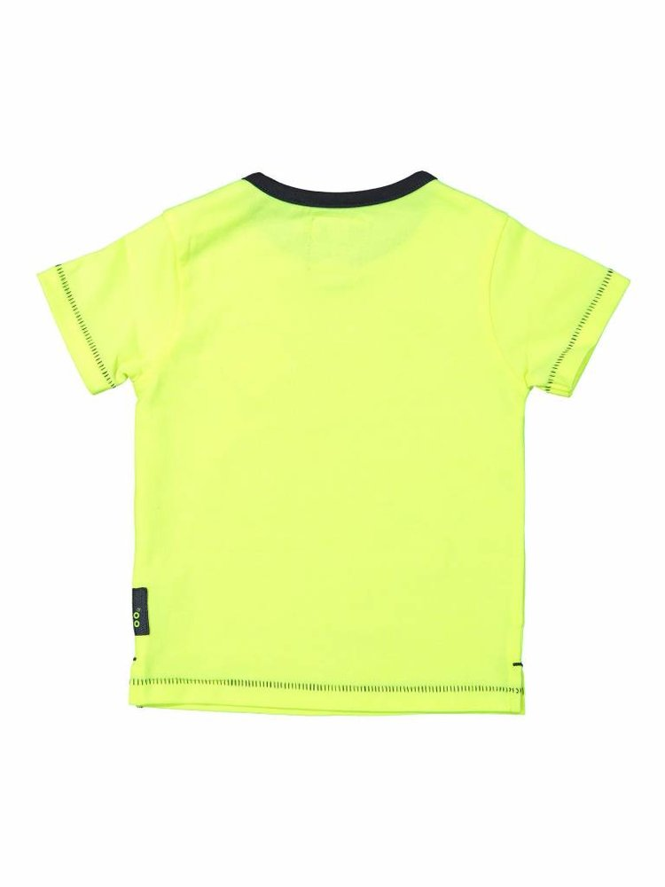 Boys T-shirt neon yellow with logo patch | 37A-30858