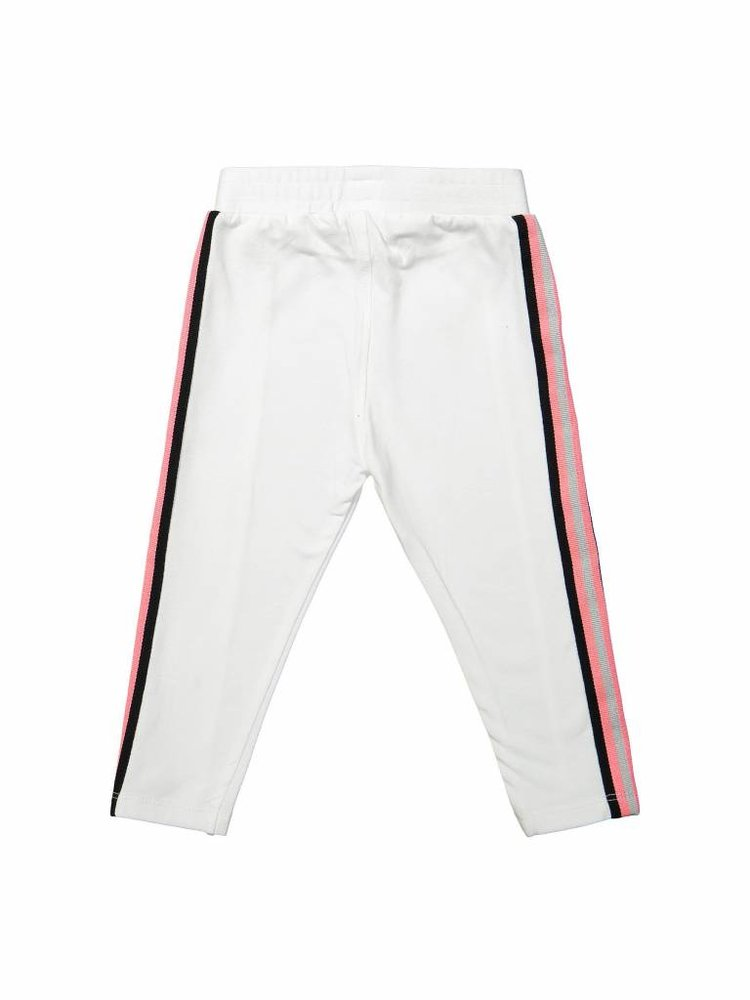 Girls sweatpants white with side stripe | 37A-30936