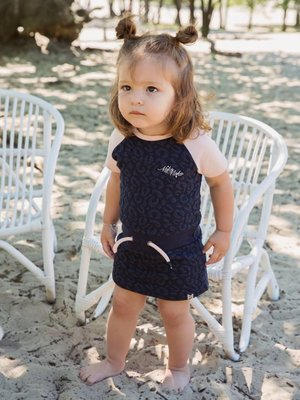 Girls dress dark blue with leopard print