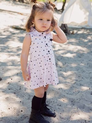 Girls dress light pink with hearts print
