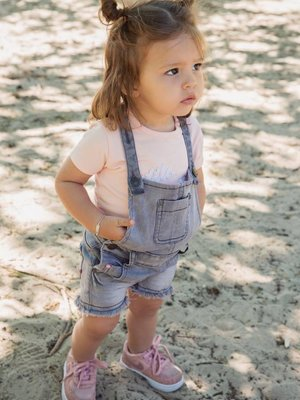 Girls dungarees gray denim