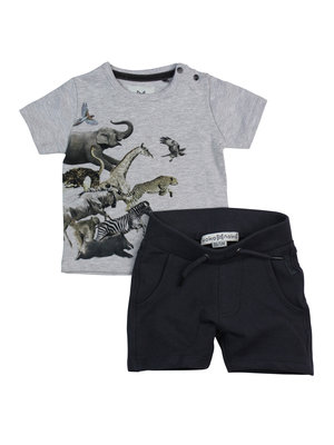 Boys 2-piece set with short and gray T-shirt