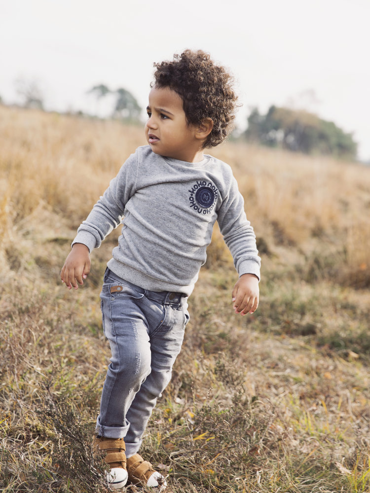 Boys jeans gray with brown label | 37B-32850