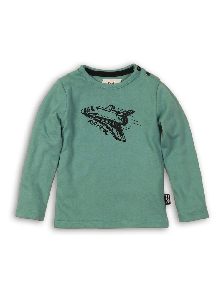 Boys longsleeve in soft green with print | 37B-32856