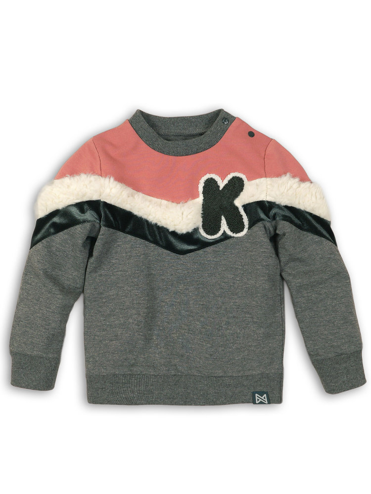 Girls sweater gray pink with application   37B-32900