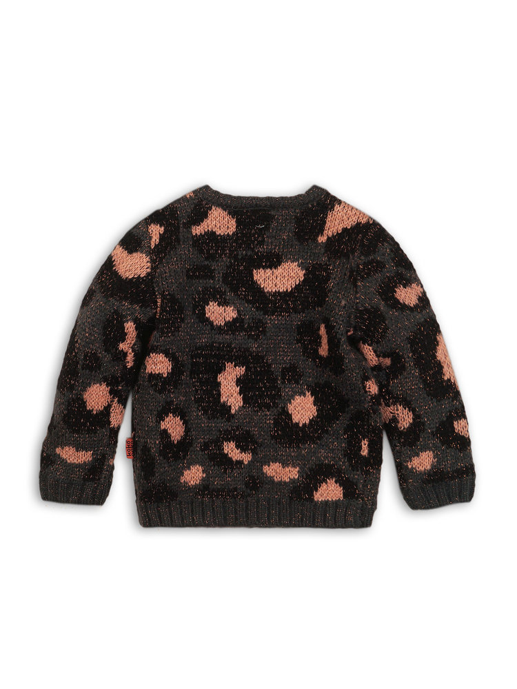 Girls sweater with leopard print | 37B-32934