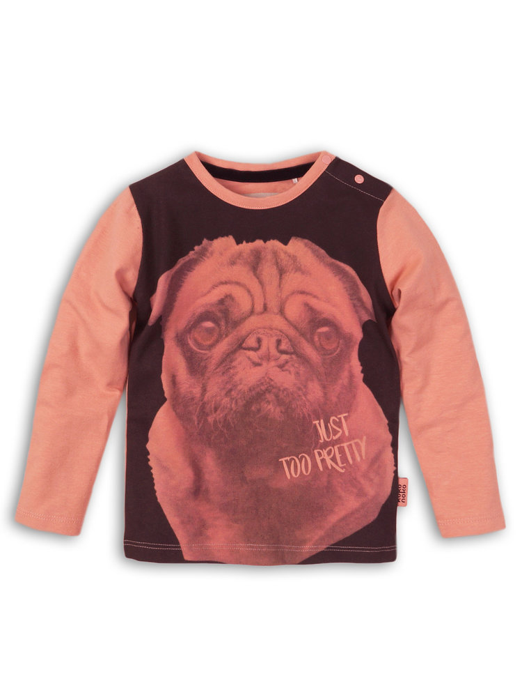 Girls longsleeve pink with dog print | 37B-32938