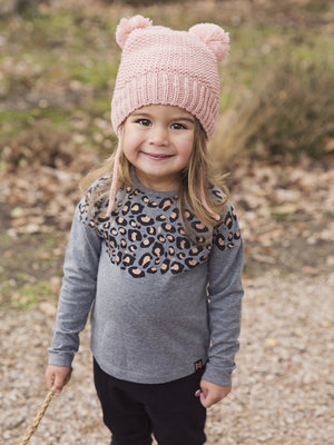 Girls long sleeve dark gray with leopard print
