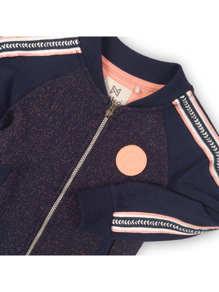 Girls cardigan blue with glitter and side stripe | 37B-32953
