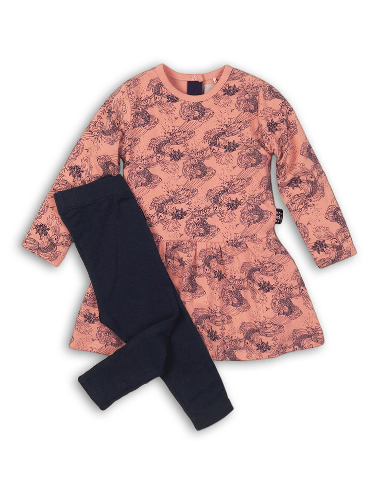 Girls 2-piece set with pink dress and leggings | 37B-32956