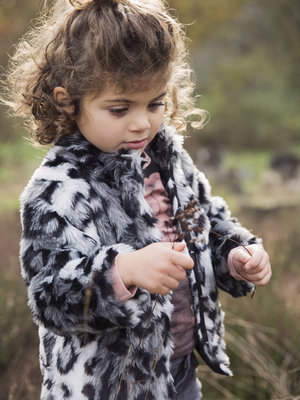 Girls jacket with leopard print