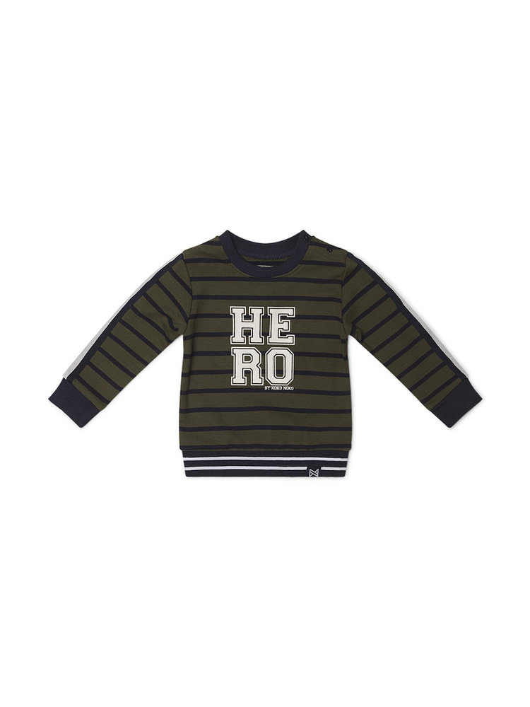Boys sweater striped green with lane over the sleeve | 37B-32800B2C