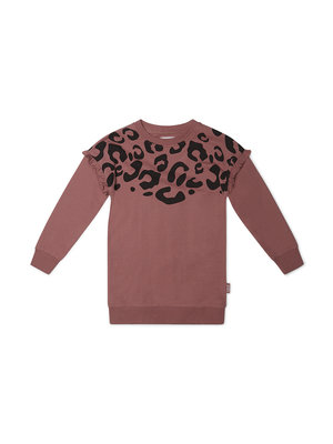 Girls dress old pink with leopard print