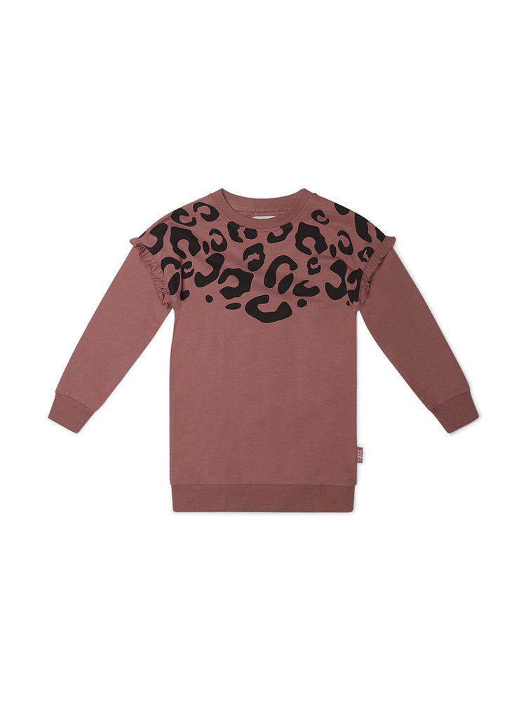 Girls dress old pink with leopard print | 37B-32907B2C